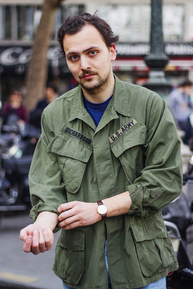 Stéphane Butticé en jungle jacket vintage du Vietnam.