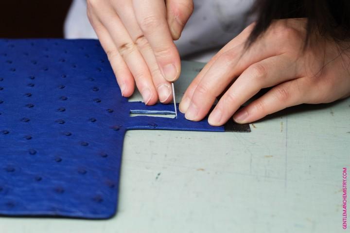 scuola del cuoio struzzo blu copie