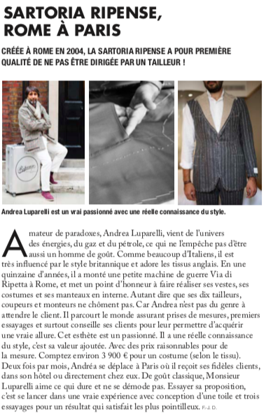 Monsieur Magazine n°139, Andrea Luparelli de la SartoriaRipense
