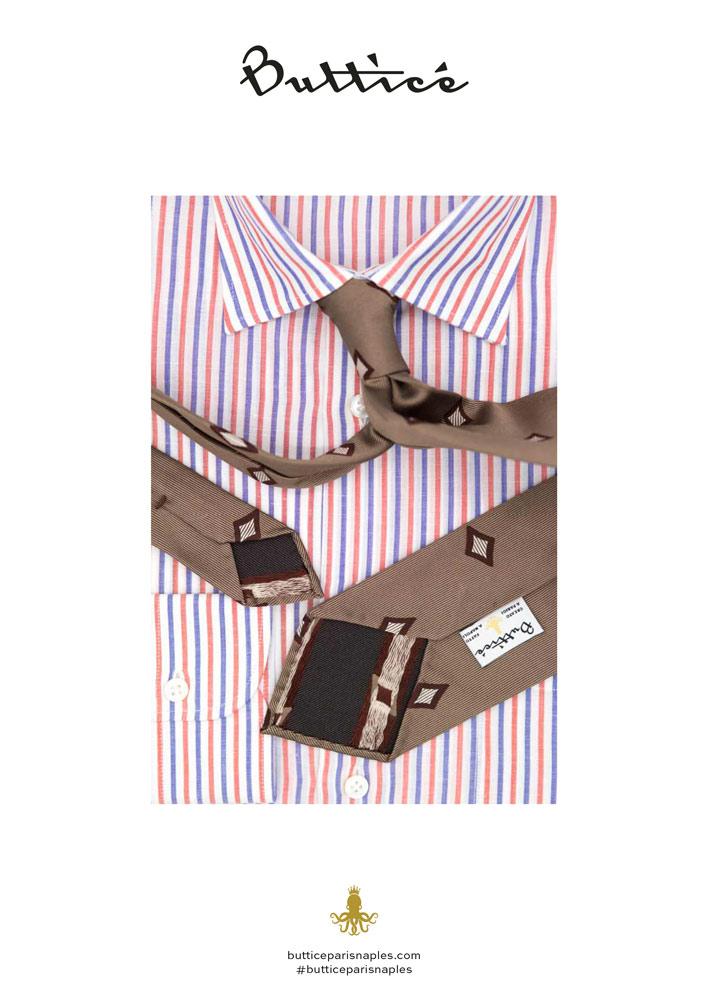 chemise-francese-cravate-jacquard-marron-diamants-buttice-paris-naples