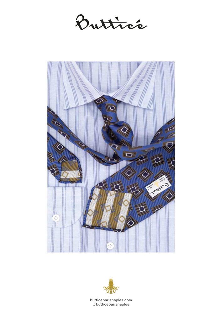 chemise-linglese-cravate-jacquard-bleue-carreaux-or-buttice-paris-naples