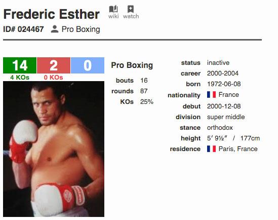 Carte boxing rec de Frédéric Esther 14 victoires par ko et 2 défaites entre 2000 et 2004.