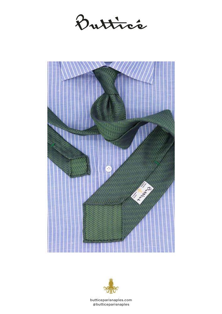 chemise-avvocato-cravate-jacquard-verte-chevron-buttice-paris-naples