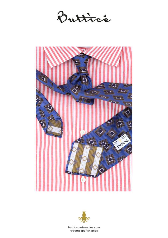 chemise-buttice-paris-naples-negroni-cravate-bleue-jacquard-carreaux-or
