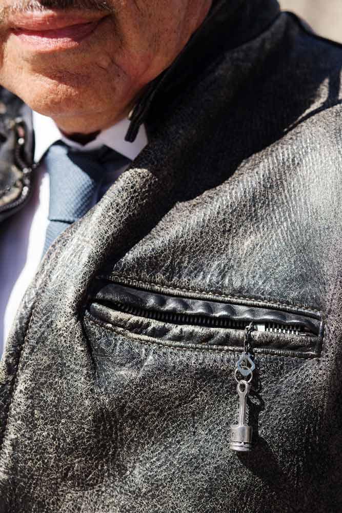 Détail blouson Laurent Picciotto Harley Davidson