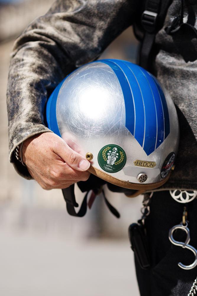 Détail casque Laurent Picciotto Hedon Helmets
