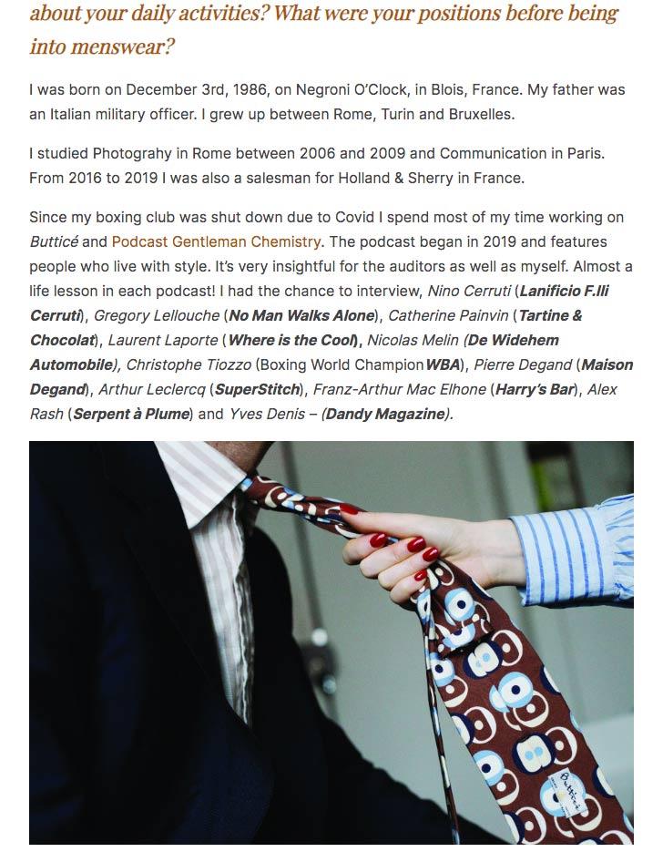 cravate-soie-imprimee-marron-chemise-rayures-bleues-coton-lin-buttice